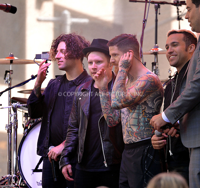 WWW.ACEPIXS.COM<br /> <br /> June 12 2015, New York City<br /> <br /> Rock band 'Fall Out Boy' performed live on 'The Today Show' on June 12 2015 in New York City<br /> <br /> By Line: Curtis Means/ACE Pictures<br /> <br /> <br /> ACE Pictures, Inc.<br /> tel: 646 769 0430<br /> Email: info@acepixs.com<br /> www.acepixs.com