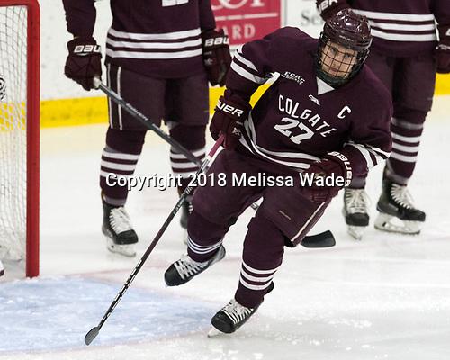 Mike Panowyk (Colgate - 27) - The visiting Colgate University Raiders shut out the Harvard University Crimson for a 2-0 win on Saturday, January 27, 2018, at Bright-Landry Hockey Center in Boston, Massachusetts.