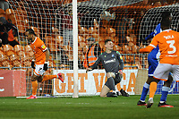 Blackpool's Nathan Delfouneso celebrates scoring his side's second goal <br /> <br /> Photographer Kevin Barnes/CameraSport<br /> <br /> The EFL Sky Bet League One - Blackpool v Gillingham - Tuesday 11th February 2020 - Bloomfield Road - Blackpool<br /> <br /> World Copyright © 2020 CameraSport. All rights reserved. 43 Linden Ave. Countesthorpe. Leicester. England. LE8 5PG - Tel: +44 (0) 116 277 4147 - admin@camerasport.com - www.camerasport.com