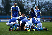 Kemy Agustien of Barrow scores the first goal for his team and celebrates with his team mates during Braintree Town vs Barrow, Vanarama National League Football at the IronmongeryDirect Stadium on 1st December 2018