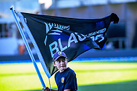 A flag-bearer waiots for the teams to walk out for the 4th Twenty20 International cricket match between NZ Black Caps and England at McLean Park in Napier, New Zealand on Friday, 8 November 2019. Photo: Dave Lintott / lintottphoto.co.nz