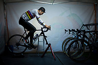 CX World Champion Wout Van Aert (BEL/Cibel-Cebon) warming up on the rollers pre-race<br /> <br /> men's race<br /> 44th Superprestige Diegem (BEL) 2018<br /> ©kramon