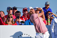 Kevin Kisner (USA) watches his tee shot on 17 during round 2 Four-Ball of the 2017 President's Cup, Liberty National Golf Club, Jersey City, New Jersey, USA. 9/29/2017.<br /> Picture: Golffile | Ken Murray<br /> <br /> All photo usage must carry mandatory copyright credit (&copy; Golffile | Ken Murray)