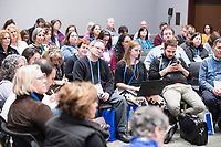 "People gather in a conference room for a ""Learning Session"" titled ""Jewish Millennial Leadership and Engagement: Empowering a Generation"" at the Union for Reform Judaism Biennial 2017 in the Hynes Convention Center in Boston, Mass., USA, on Wed., Dec. 6, 2017."