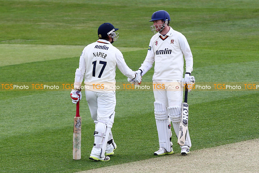 Tim Phillips (R) of Essex congratulates Graham Napier on his half-century - Essex CCC vs Hampshire CCC - LV County Championship Division Two Cricket at the Essex County Ground, Chelmsford - 30/04/13 - MANDATORY CREDIT: Gavin Ellis/TGSPHOTO - Self billing applies where appropriate - 0845 094 6026 - contact@tgsphoto.co.uk - NO UNPAID USE.