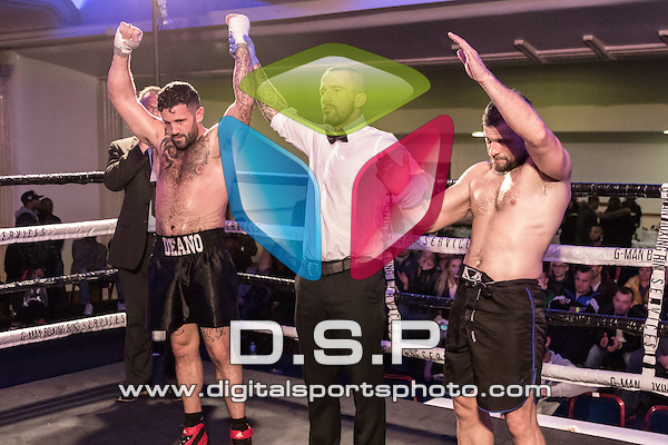 Dean Little vs Danny Nash 5x2 Boxing contest During Warrior Fight Nights 11. Photo by: Simon Downing.<br /> <br /> Saturday 5th November 2016 - The Coliseum Suite, 300-310 High Road, Ilford, Essex, United Kingdom.