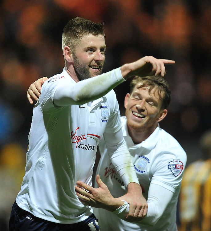 Preston North End's Paul Gallagher celebrates scoring his team's third goal<br /> <br /> Photographer Dave Howarth/CameraSport<br /> <br /> Football - Johnstone's Paint Trophy Northern Area Second Round - Preston North End v Port Vale - Tuesday 07th October 2014 - Deepdale - Preston<br />  <br /> &copy; CameraSport - 43 Linden Ave. Countesthorpe. Leicester. England. LE8 5PG - Tel: +44 (0) 116 277 4147 - admin@camerasport.com - www.camerasport.com