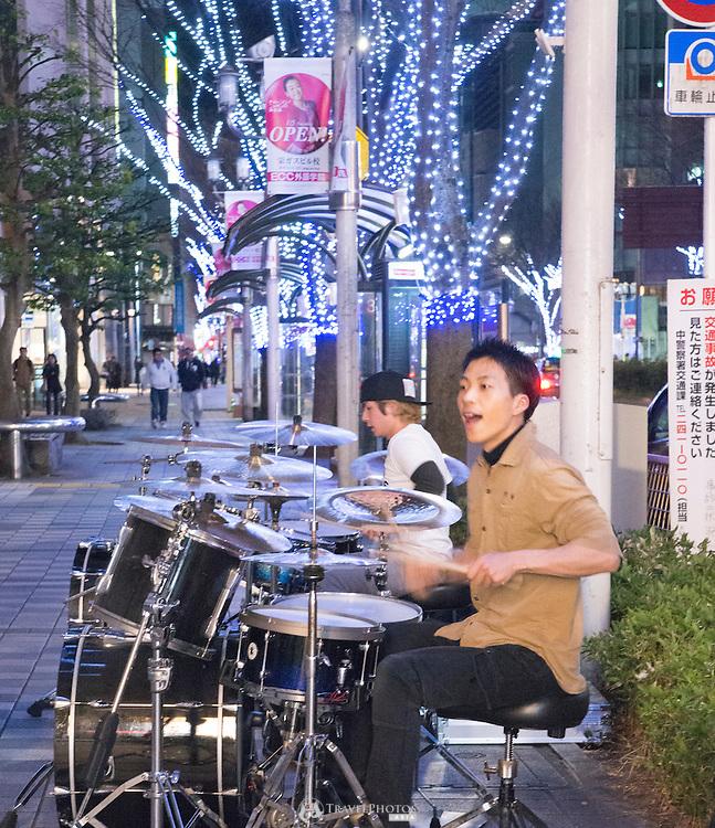 Drummers busking late at night in Sakae, Nagoya city.