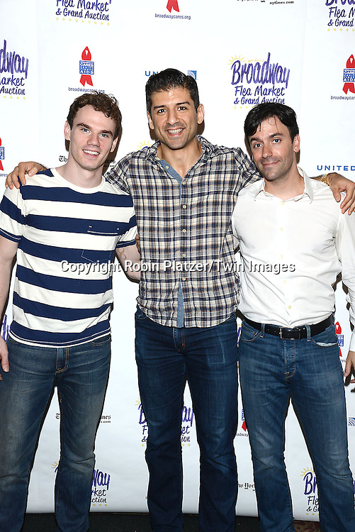 Jay Armstrong Johnson, Tony Yazbeck and Clyde Alves attend the 28th Annual  Broadway Cares/ Equity Fights Aids Flea Market and Auction on September 21,2014 in Shubert Alley in New York City. <br /> <br /> photo by Robin Platzer/Twin Images<br />  <br /> phone number 212-935-0770