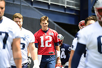June 7, 2018: New England Patriots quarterback Tom Brady (12) walks to drills at the team's mini camp held on the practice fields at Gillette Stadium, in Foxborough, Massachusetts. Eric Canha/CSM