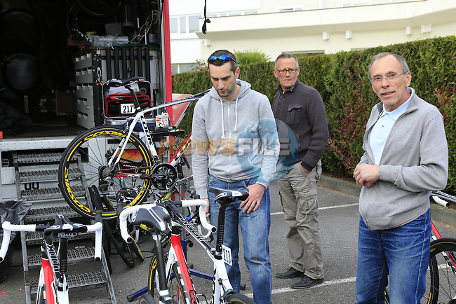 Cofidis team mechanics prepare their Look 675 bikes in Compiegne the evening before the 112th edition of the 257 km Paris-Roubaix cycle race held over the cobbled roads of Northern France. 12th April 2014.<br />