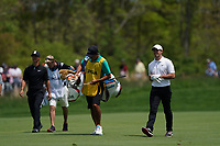 Thorbjorn Olesen (DEN) and Rory McIlroy (NIR) on the 12th fairway during the 3rd round at the PGA Championship 2019, Beth Page Black, New York, USA. 18/05/2019.<br /> Picture Fran Caffrey / Golffile.ie<br /> <br /> All photo usage must carry mandatory copyright credit (© Golffile | Fran Caffrey)