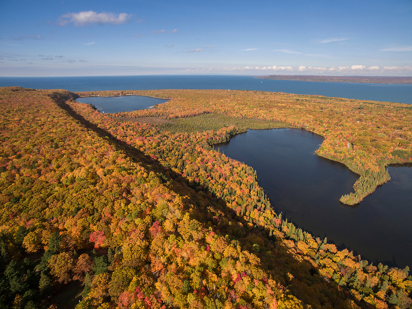 Mission Hill overlook of Spectacle Lakes near Brimley, Michigan during fall color.