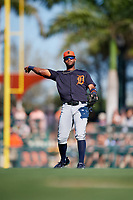 Detroit Tigers shortstop Willi Castro (49) throws to first base during a Grapefruit League Spring Training game against the Baltimore Orioles on March 3, 2019 at Ed Smith Stadium in Sarasota, Florida.  Baltimore defeated Detroit 7-5.  (Mike Janes/Four Seam Images)