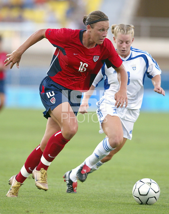 August 11th, 2004:  Abby Wambach in action against Greece at Pankritio Stadium in Heraklio, Greece.  USA defeated Greece, 3-0..Credit: Michael Pimentel / ISI