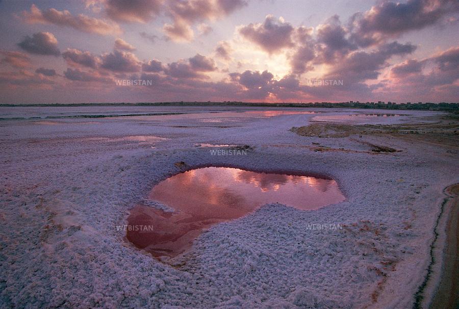 ..Egypt. Alexandria. 1996. Salt lakes on lagunas near Mariout Lake, at the south of Alexandria......Egypte. Alexandrie. 1996. Lacs de sel dans les lagunes proches du lac Mariout, au sud d'Alexandrie.