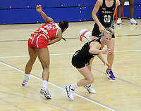 20.1.2014 New Zealand's Laura Lagman competes for ball with England's Stacey Francis during their netball test match in London, England. Mandatory Photo Credit (Pic: David Klein). ©Michael Bradley Photography.