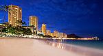 Waikiki Beach, Oahu, Hawaii and Diamondhead before dawn in May 2014.