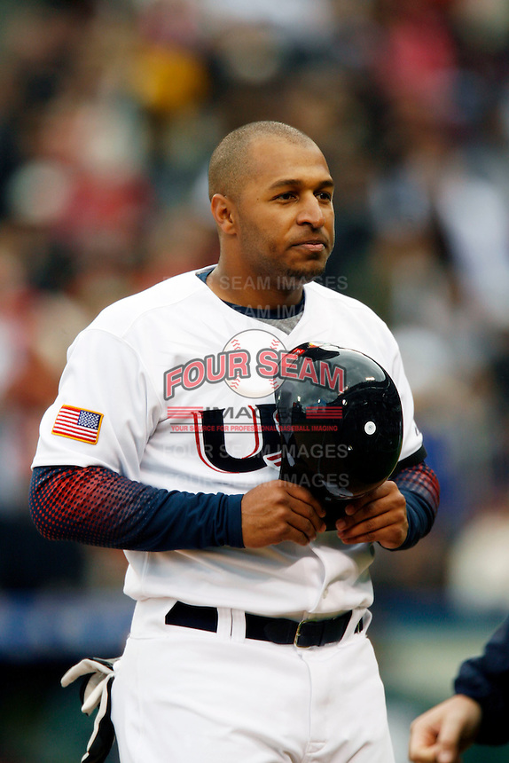 Vernon Wells of the USA during the World Baseball Championships at Angel Stadium in Anaheim,California on March 12, 2006. Photo by Larry Goren/Four Seam Images