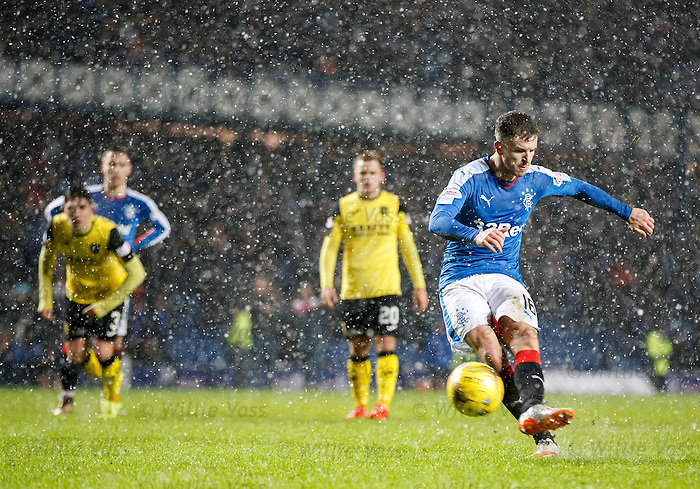 Andy Halliday has his penalty kick saved by Livi keeper Marc McCallum