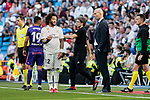 Real Madrid's Marcelo Vieira and coach Zinedine Zidane have words with during La Liga match between Real Madrid and Real Club Celta de Vigo at Santiago Bernabeu Stadium in Madrid, Spain. March 16, 2019. (ALTERPHOTOS/A. Perez Meca)