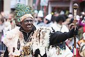 Düsseldorf, Germany. 27 February 2017. White man with a blackened face. Carnival parade on Shrove Monday (Rosenmontag) in Düsseldorf, North Rhine-Westphalia, Germany.