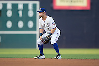 Durham Bulls second baseman Ryan Brett (1) on defense against the Indianapolis Indians at Durham Bulls Athletic Park on August 4, 2015 in Durham, North Carolina.  The Indians defeated the Bulls 5-1.  (Brian Westerholt/Four Seam Images)