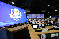Inside the Media Centre during Sunday's Singles at the 2014 Ryder Cup from Gleneagles, Perthshire, Scotland. Picture:  David Lloyd / www.golffile.ie