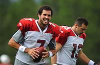 Jul 31, 2009; Flagstaff, AZ, USA; Arizona Cardinals quarterback Matt Leinart (left) laughs as he stands alongside Kurt Warner during training camp on the campus of Northern Arizona University. Mandatory Credit: Mark J. Rebilas-