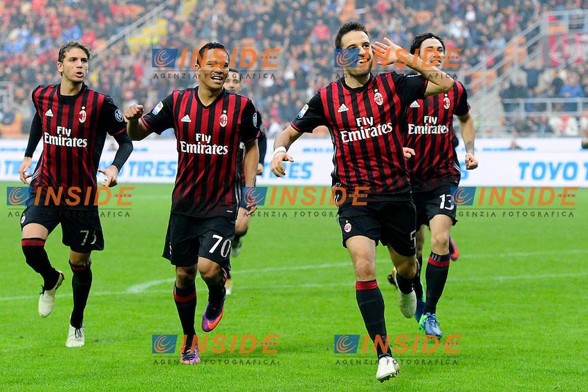 Esultanza gol di Giacomo Bonaventura Milan 1-0. Celebration goal<br /> Milano 30-10-2016 Stadio Giuseppe Meazza - Football Calcio Serie A Milan - Pescara. Foto Giuseppe Celeste / Insidefoto