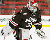 Connor Maher (Brown - 31) - The Harvard University Crimson defeated the Brown University Bears 4-3 to sweep their first round match up in the ECAC playoffs on Saturday, March 7, 2015, at Bright-Landry Hockey Center in Cambridge, Massachusetts.
