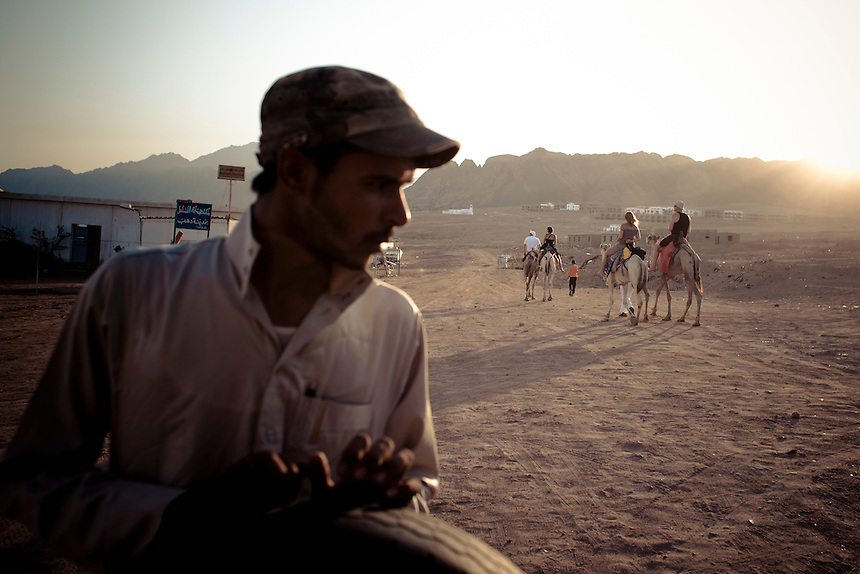 A Bedouin driver looks over his shoulder at a passing group of foriegners on a camel tour, Dahab, Egypt. Photo: Ed Giles.