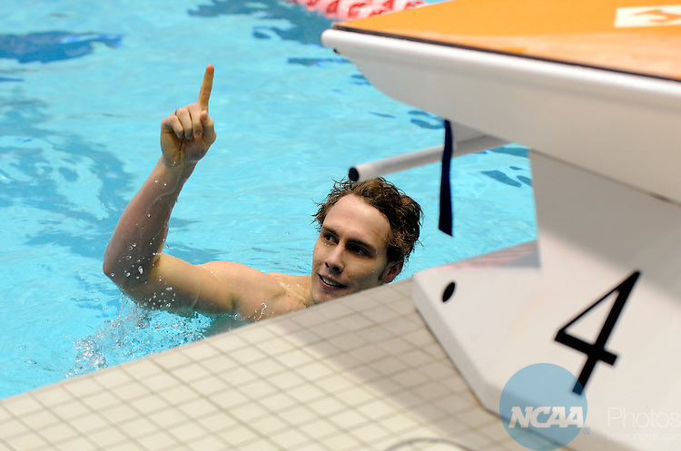 25 MAR 2011:  Rory Buck of Whitworth celebrates after winning the 100 yard breaststroke during the Division III Men's and Women's Swimming and Diving Championship help at Allan Jones Aquatic Center in Knoxville, TN.  Buck finished with a  time of 54.30 to win the national title. David Weinhold/NCAA Photos