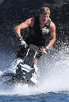 Kimi Räikkönen and his wife Jenni Dahlman on holidays on their yacht in Corsica - EXCLUSIVE - France