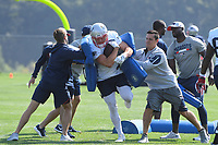 July 27, 2018: New England Patriots tight end Jacob Hollister (48) does a drill at the New England Patriots training camp held on the practice fields at Gillette Stadium, in Foxborough, Massachusetts. Eric Canha/CSM