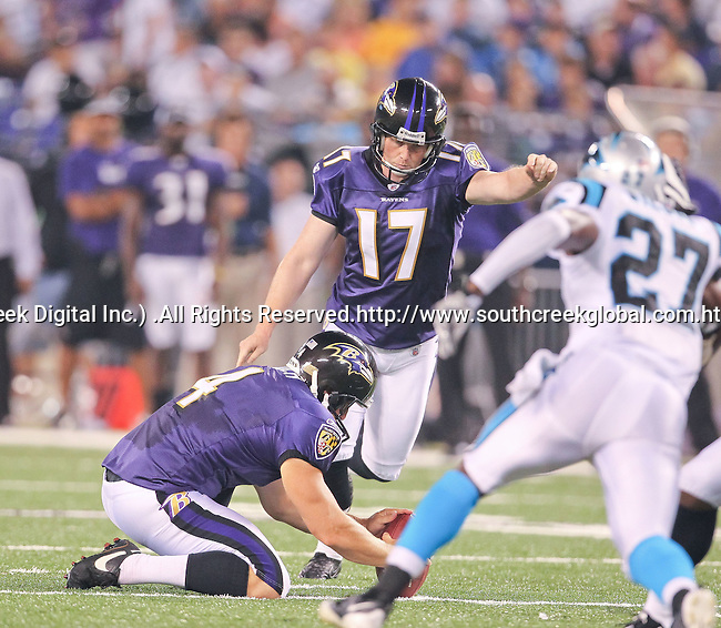 Aug 12, 2010: Baltimore Raven placekicker Shayne Graham (#17) kicks a field goal in the first quarter against the Carolina Panthers. The Ravens defeated the Carolina Panthers 17-12 as the teams played their first preseason game at M & T Bank Stadium in Baltimore, Maryland. (Mandatory credit:  Margaret Bowles/Southcreek Global Media)