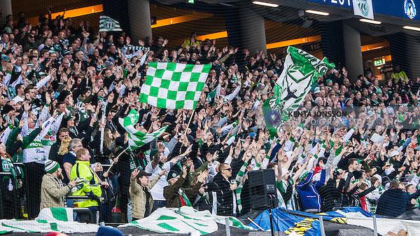 Solna 2014-03-16 Bandy SM-final herrar Sandvikens AIK - V&auml;ster&aring;s SK :  <br /> V&auml;ster&aring;s supportrar p&aring; l&auml;ktaren i Friends Arena under SM-finalen mot Sandviken<br /> (Foto: Kenta J&ouml;nsson) Nyckelord:  SM SM-final final herr herrar VSK V&auml;ster&aring;s SAIK Sandviken  supporter fans publik supporters