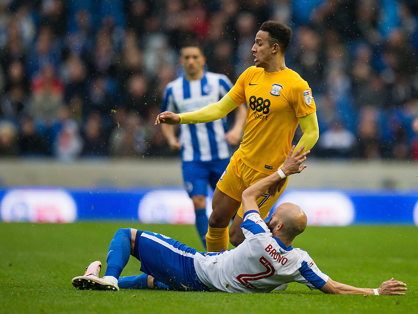 Preston North End's Chris Humphrey is tackled by Brighton &amp; Hove Albion's Bruno Saltor<br /> <br /> Photographer Ashley Western/CameraSport<br /> <br /> The EFL Sky Bet Championship - Brighton &amp; Hove Albion v Preston North End - Saturday 15th October 2016 - American Express Community Stadium - Brighton<br /> <br /> World Copyright &copy; 2016 CameraSport. All rights reserved. 43 Linden Ave. Countesthorpe. Leicester. England. LE8 5PG - Tel: +44 (0) 116 277 4147 - admin@camerasport.com - www.camerasport.com