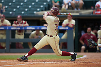 Cal Raleigh (35) of the Florida State Seminoles follows through on his swing against the North Carolina Tar Heels in the 2017 ACC Baseball Championship Game at Louisville Slugger Field on May 28, 2017 in Louisville, Kentucky. The Seminoles defeated the Tar Heels 7-3. (Brian Westerholt/Four Seam Images)