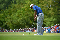 Tiger Woods (USA) sinks his birdie putt on 8 during 3rd round of the 100th PGA Championship at Bellerive Country Club, St. Louis, Missouri. 8/11/2018.<br /> Picture: Golffile | Ken Murray<br /> <br /> All photo usage must carry mandatory copyright credit (&copy; Golffile | Ken Murray)