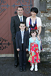 Dylan Gorman, who made his First Communion on Saturday at Clogherhead church, pictured with sister Shauna, mum Verna and dad Glenn.