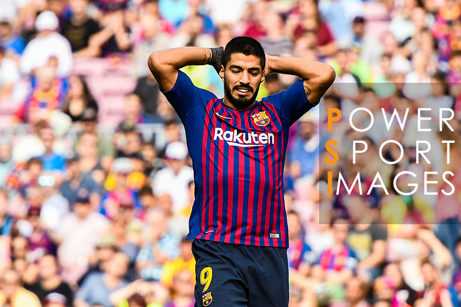 Luis Suarez of FC Barcelona reacts during their La Liga  2018-19 match between Barcelona and Athletic Bilbao at Camp Nou Stadium on September 29, 2018 in Barcelpona, Spain. Photo by Vicens Gimenez / Power Sport Images