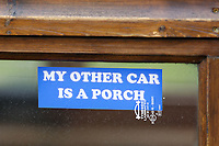 """Pictured: A sticker """"My Other Car Is A Porch"""" on the Fastest Shed in Pendine, west Wales, UK. Saturday 12 May 2018<br /> Re: A motorised shed has broken its own land speed record on a Welsh beach as it hit over 100mph.<br /> The Fastest Shed smashed its previous 80mph (129km/h) record for the fastest shed at a land speed event at Pendine Sands in Carmarthenshire.<br /> Its owner, gardener Kevin Nicks said it was """"marvellous"""" to hit 101.043mph (160 km/h) in what he said was the only road legal shed with an engine in the world.<br /> Mr Nicks, from Chipping Norton in Oxfordshire, created his bespoke shed on wheels, which now boasts a turbo-charged 450 brake horsepower turbo engine that is more powerful than many sports cars."""
