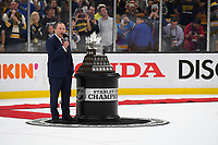 June 12, 2019: National Hockey League Commissioner Gary Bettman presents the Conn Smythe Trophy during game 7 of the NHL Stanley Cup Finals between the St Louis Blues and the Boston Bruins held at TD Garden, in Boston, Mass. The Saint Louis Blues defeat the Boston Bruins 4-1 in game 7 to win the 2019 Stanley Cup Championship.  Eric Canha/CSM