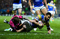 Leeds Rhinos' Kallum Watkins scores his side's first try<br /> <br /> Photographer Alex Dodd/CameraSport<br /> <br /> Betfred Super League Round 5 - Leeds Rhinos v Hull FC - Thursday 8th March 2018 - Headingley Carnegie Stadium - Leeds<br /> <br /> World Copyright &copy; 2018 CameraSport. All rights reserved. 43 Linden Ave. Countesthorpe. Leicester. England. LE8 5PG - Tel: +44 (0) 116 277 4147 - admin@camerasport.com - www.camerasport.com