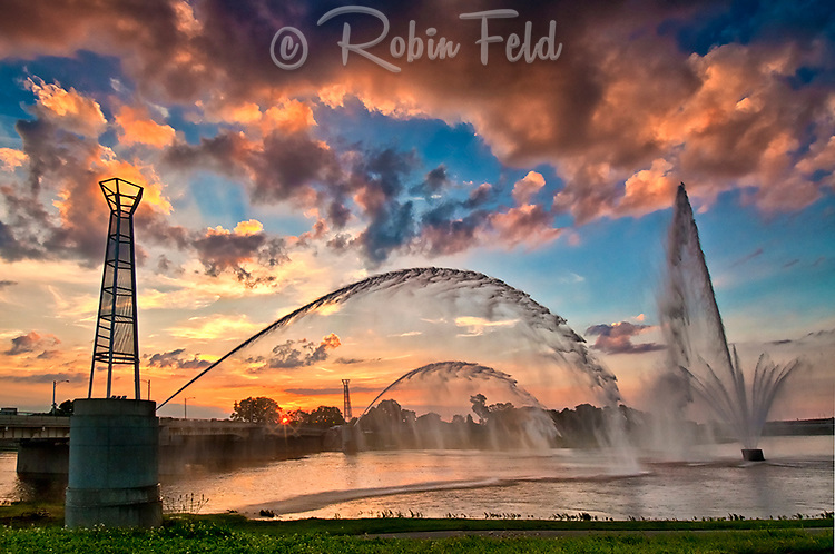 Riverscape fountains at sunset in Dayton Ohio.