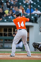 Christian Walker (14) of the Norfolk Tides at bat against the Charlotte Knights at BB&T BallPark on April 20, 2016 in Charlotte, North Carolina.  The Knights defeated the Tides 6-3.  (Brian Westerholt/Four Seam Images)