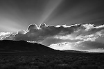 Pyramid Lake sunset and cloud beams Black and White