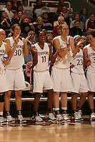 23 February 2006: Krista Rappahahn, Brooke Smith, Candice Wiggins, Kristen Newlin, Rosalyn Gold-Onwude, and Jillian Harmon during Stanford's 100-69 win over the Washington Huskies at Maples Pavilion in Stanford, CA.