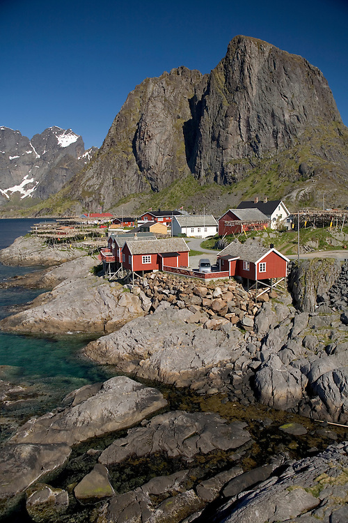 Hamnoy fishing village situated on the Reinefjord, Lofoten Islands, Norway